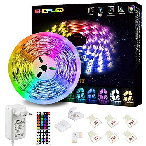 Striscia LED 5M, SHOPLED Strisce LED RGB 5050 con 44 Tasti Telecomando, 20 Colori 8 Modalità e 6 Opzioni DIY, Luci Led Colorate per Decorazioni, Cucina, Bar, Festa