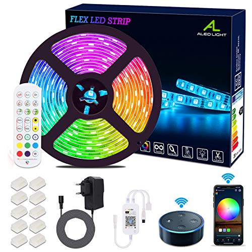 Striscia LED 5M WiFi, Striscia Luminosa LED 5050 5M RGB SMD 150led Impermeabile, Luce LED di Controllo APP Smartphone viene utilizzata con la Decorazione Domestica di Alexa Google Home