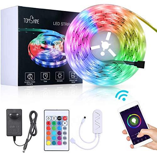 Striscia LED 5M,Tomshine WIFI LED Striscia RGB Intelligente con IR Telecomando, 150 LED, Compatibile con Alexa e Google Assistant & Echo,Controllo della musica,Luci Decorative a LED per Natale