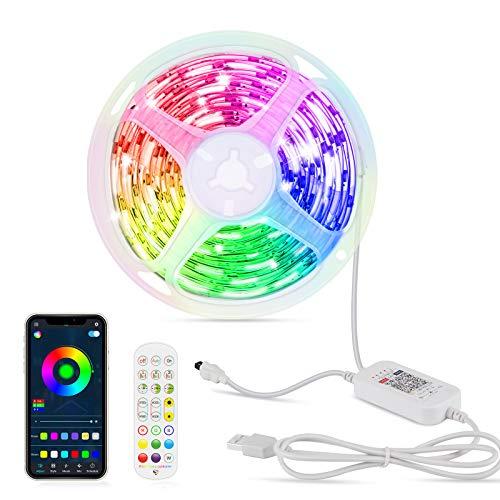 Striscia LED 6M - OMERIL Led RGB Adesive, Strisce Led Adesive Controllo da APP e Telecomando, 16 Milioni Colori, 213 Modalità【Musica Attivata e Timer】, Impermeabile IP67 per Camera, Bar, TV ecc.
