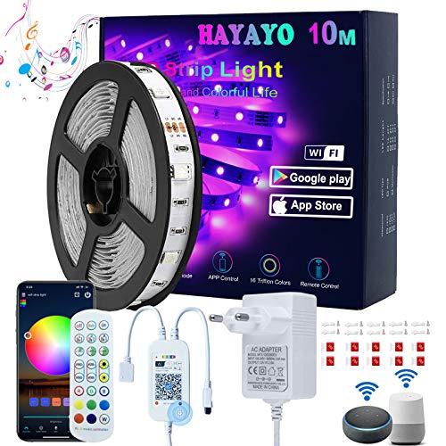 Striscia LED Alexa 10M, HAYAYO LED Striscia Luminose WIFI APP Control, Strisce LED Colorati Sincronizza Musica Luci LED Camera da letto Decorazioni Casa e Feste, Funziona con Alexa Google Home
