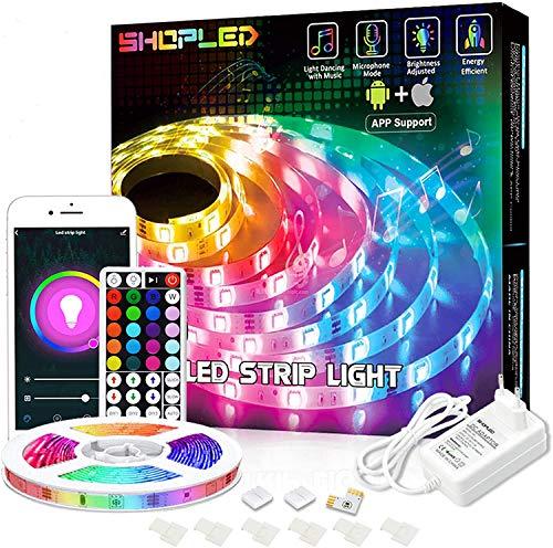 Striscia LED Compatibile con Alexa/Google Home, SHOPLED 5M Smart WiFi LED Striscia controllata App e RF Telecomando, Sincronizza con Musica, RGB 5050 Nastri Led per Casa soggiorno Festival Decorazione