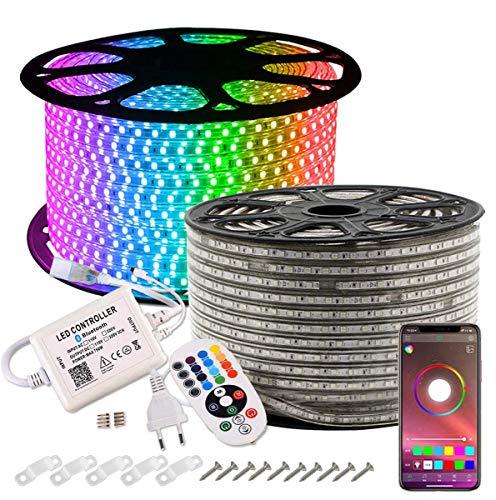 Striscia LED, GreenSun LED Lighting 20M SMD 5050 RGB Strisce Luminose con Controller Bluetooth IP65 Impermeabile Decorazioni per feste, Natale e giardino