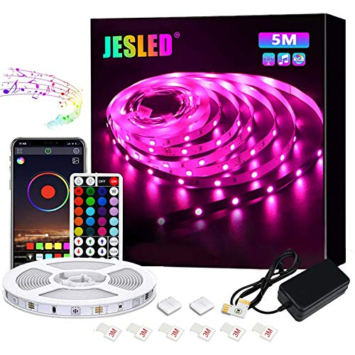 Striscia LED, JESLED LED Striscia 5M SMD 5050 RGB Strisce, con Controller Bluetooth Sincronizza con la Musica, 44 Tasti Telecomando, per TV,Camera da letto, Decorazioni per feste e per la casa