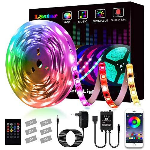 Striscia Led, L8star Led Striscia 5m Strisce Luminose con Controller Bluetooth Sincronizza con la Musica Adatto per TV, Camera da letto, Decorazioni per feste e per la casa(5m)