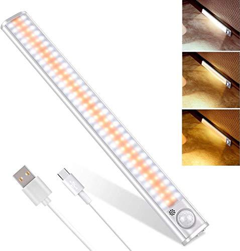 Striscia LED, Luci LED Camera da Letto, 160 LED con Sensore di Movimento, Luci LED Ricaricabile con Striscia Magnetica Adesiva, per Armadio, Scale, Cucina