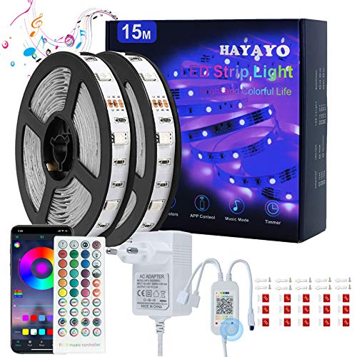 Striscia LED RGB 15M, HAYAYO LED Striscia Luminose Bluetooth APP Control, Strisce LED Colorati Sincronizza Musica Luci LED Camera da letto Decorazioni Casa e Feste, Funziona con Alexa Google Home