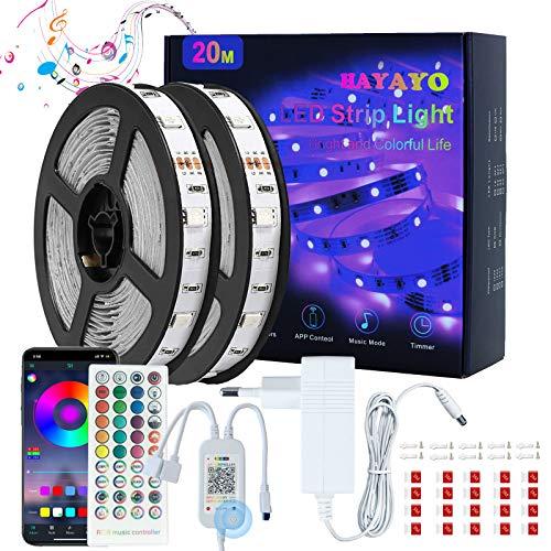 Striscia LED RGB 20M, HAYAYO LED Striscia Luminose Bluetooth APP Control, Strisce LED Colorati Sincronizza Musica Luci LED Camera da letto Decorazioni Casa e Feste, Funziona con Alexa Google Home
