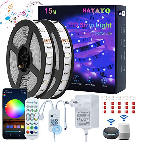 Striscia LED RGB Alexa 15M, HAYAYO LED Striscia Luminose WIFI APP Control, Strisce LED Colorati Sincronizza Musica Luci LED Camera da letto Decorazioni Casa e Feste, Funziona con Alexa Google Home