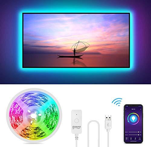 Striscia Led RGB Intelligente, Gosund 2.8M Retroilluminazione Nastro Luminoso LED Multicolor Compatibile con Alexa e Google home, Nastro LED USB per HDTV da 40-60 Pollici con APP Control