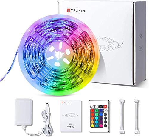 Striscia LED RGB, Strisce LED,TECKIN 5M LED RGB TV Retroilluminazione Striscia,RGB 5050 Luce con 16 Colori,Con telecomando a infrarossi, Adatto per TV, Camera da Letto, Feste e Decorazioni per la Casa