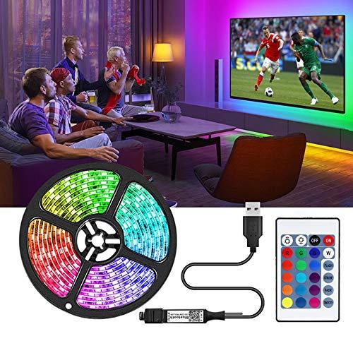 Striscia LED TV 2M, 5050 RGB Led Lights IP20 non impermeabile cambia colore con 20 colori 8 luci, strisce LED con 44 tasti IR Remote Controller 12V Alimentazione (2,0 m)