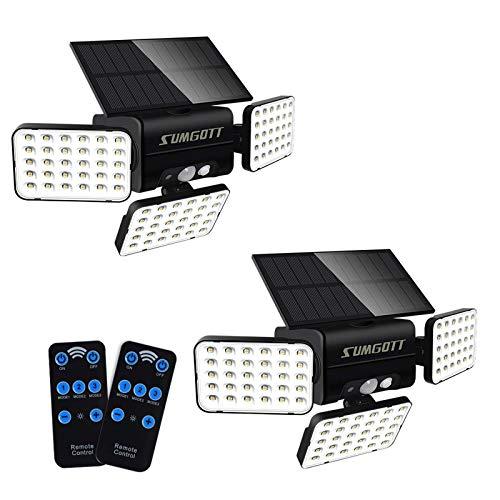 SUMGOTT luce solare esterna con telecomando, luce di sicurezza con sensore di movimento, applique 90LED, faretto orientabile a 360 ° IP65 impermeabile, adatto per giardino cortile garage (2PCS)