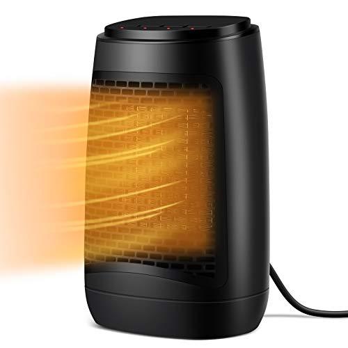 SUMKUMY Mini Stufa Elettrica da Tavolo, Termoventilatore a Basso Consumo 1200W, Riscaldamento Rapido 3S con 3 Modalità (5W/750W/1200W), Rotazione a 45°, Termoventilatore PTC da Tavolo,Ufficio,Casa