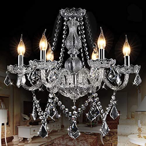 SUN-E Lampadario di cristallo classico a forma di foglia di acero lampada a sospensione a forma di foglia di cristallo classico candela di cristallo K9 (con istruzioni dettagliate) (6 Luci)