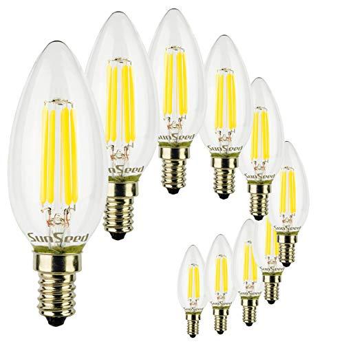 SunSeed 10x Lampadina E14 Filamento LED 4W Candela C35 450 Lm Naturale 4000K