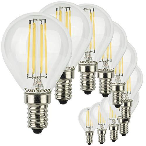 SunSeed 10x Lampadina E14 Filamento LED 6W Sfera G45 790 Lm Luce Naturale 4000K