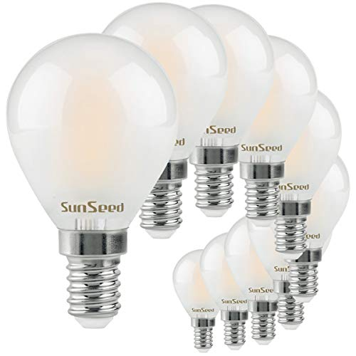 SunSeed 10x Lampadina E14 Filamento LED Satinata 4W Sfera G45 430 Lm Luce Naturale 4000K