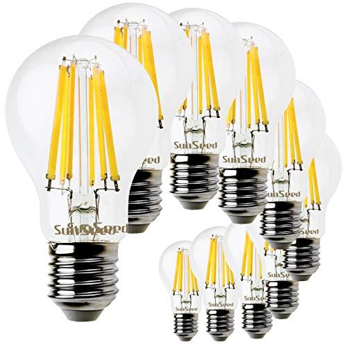 SunSeed 10x Lampadina E27 Filamento LED 10W Goccia A60 1320 Lm Luce Naturale 4000K