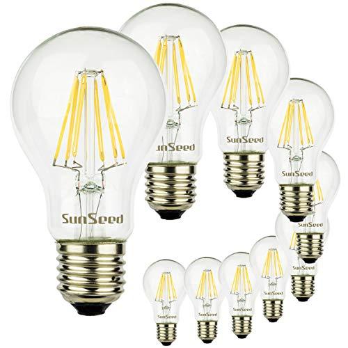 SunSeed 10x Lampadina E27 Filamento LED 8W Goccia A60 900 Lumen Naturale 4000K