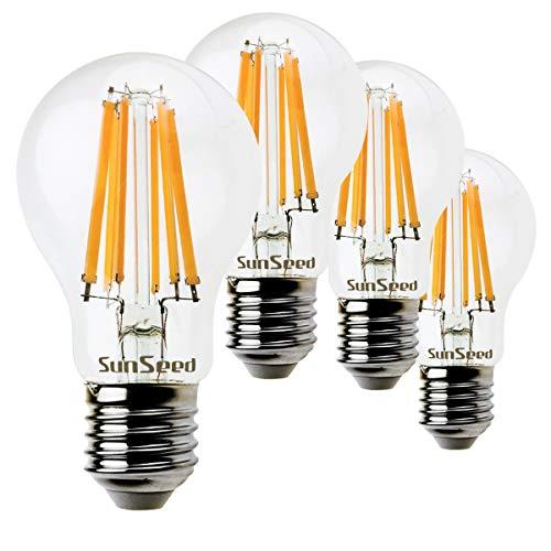 SunSeed 4x Lampadina E27 Filamento LED 10W Goccia A60 1220 Lm Luce calda 2700K