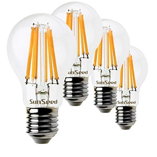 SunSeed 4x Lampadina E27 Filamento LED 12W Goccia A60 1500 Lm Luce Calda 2700K