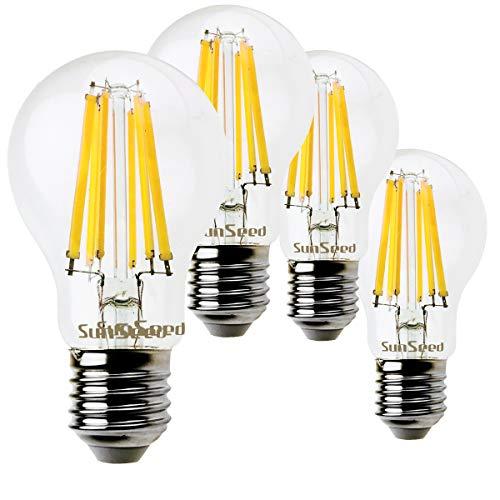 SunSeed 4x Lampadina E27 Filamento LED 12W Goccia A60 1700 Lm Luce Naturale 4000K