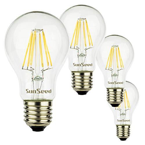 SunSeed 4x Lampadina E27 Filamento LED 8W Goccia A60 900 Lm Luce Naturale 4000K