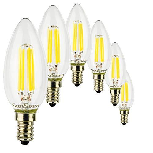 SunSeed 6x Lampadina E14 Filamento LED 4W Candela C35 450 Lm Naturale 4000K