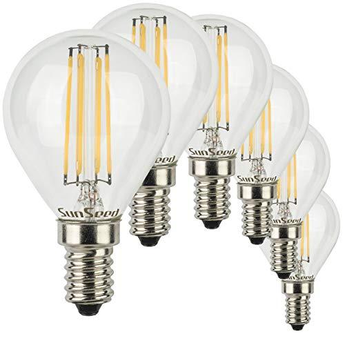 SunSeed 6x Lampadina E14 Filamento LED 6W Sfera G45 760 Lumen Luce Calda 2700K