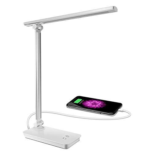 SunTop Lampada da Tavolo LED,Lampada Scrivania 3 livelli Dimmerabili, Regolabile 5 Colori,Touch Control, Luce gradevole per Occhi, Porta di Ricarica USB per Smartphone