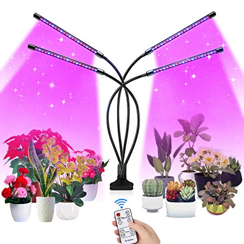 SUPCHON Lampada per Piante Coltivazione, 80 LED 4 Heads Luci per Piante con RF Controller Funzione Memoria Tempismo, 9 Livelli di Regolazione, per Semina, Crescita, Fioritura e Fruttificazione