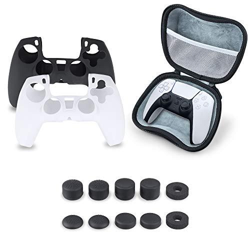 SUPERSUN 13 in 1 Accessori per Playstation 5 Sony, 2 Custodia in Silicone per PS5 Controller Wireless DualSense, 8 Tappi per Joystick PS5, 1 Custodia in Eva, 2 Anelli per Joystick