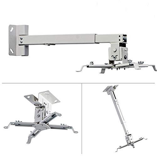 Supporto a soffitto per proiettore, installabile a soffitto o parete, allungabile da 15 cm a 65 cm , colore: bianco