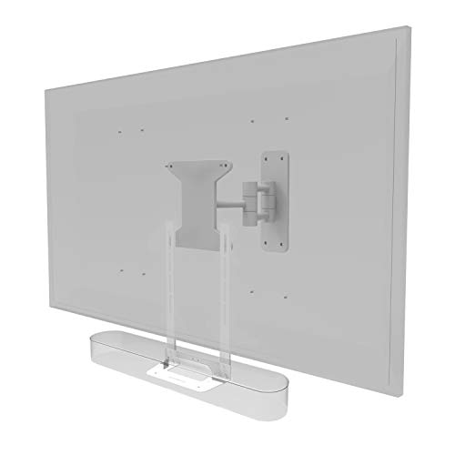 Supporto per TV Soundbass Beam, Bianca, Compatibile con staffa di montaggio per TV Sonos Beam, include il kit di montaggio hardware, Beam Soundbar, progettato nel Regno Unito