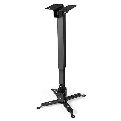 Supporto Universale Estensibile da Soffitto per Videoproiettore per Casa Ufficio Sale Riunioni Portata Fino a 25kg, Staffa Regolabile per Proiettore 43-65cm (Nero)