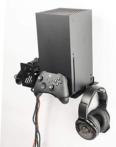 Supporto Verticale da Parete XBOX Series X, Base con 2 Porta Pad + 1 Porta Cuffie Gaming, Stand Verticale con Montaggio a Muro in Ferro Verniciato a Polvere, Borangame, Nero