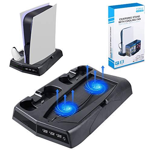 Supporto Verticale per PS5 / Playstation 5 Edizione Digitale con Ventilatore, 14 Supporto per Dischi Giochi, 3 USB Porte di Ricarica, Doppia Stazione di Ricarica per Console PS5