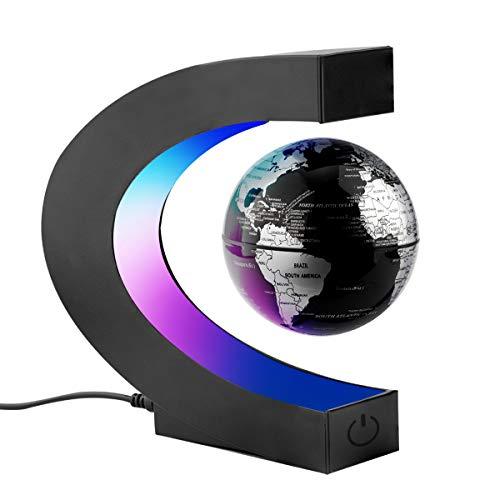 Surplex C Forma Globo Fluttuante con LED a Levitazione Magnetica, Mappamondo Magnetico con Luce LED per Casa Ufficio Decorazione Regali d'Affari Studente Educazione - Nero