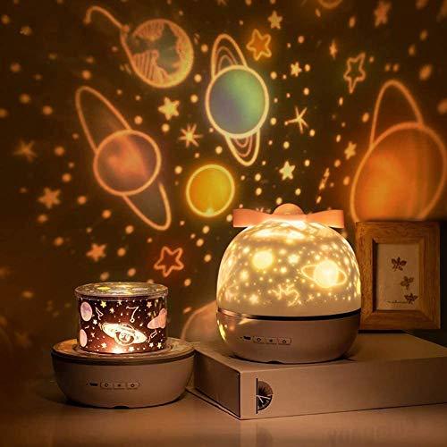 SUVOM Lampada Proiettore per Bambini, 360° che Girano Romantico Gradi e Universo Luce Notte Bambini, 6 Modalità di Colore Luce Notturna per Regali di Camera, Compleanno, Vacanze