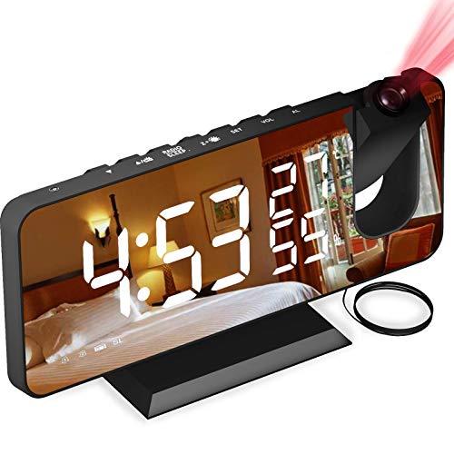 Sveglia Digitale da Comodino con Proiettore , Aikove Sveglia con Fm Radio , Usb Doppi Sveglia , 3 Livelli Luminosità, Snooze e 15 Livelli di Volume,12/24h,Sveglia Multifunzionale,per Camera da Letto