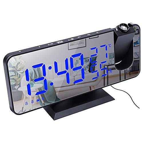 Sveglia Digitale da Comodino, Radiosveglia da Proiettore, FM Orologio con Doppi Allarmi, 3 Livelli Luminosità, USB Porta di Ricarica, 12/24 Ora, Snooze, 15 Livelli di Volume (Senza Adattatore)