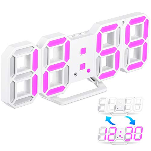 Sveglia Digitale LED 3D, Orologio Digitale da Parete Elettronico USB LED con Funzione Snooze, Sveglia con Numeri LED con 3 Livelli di Luminosità Regolabili per Scrivania/Soggiorno/Camera da Letto