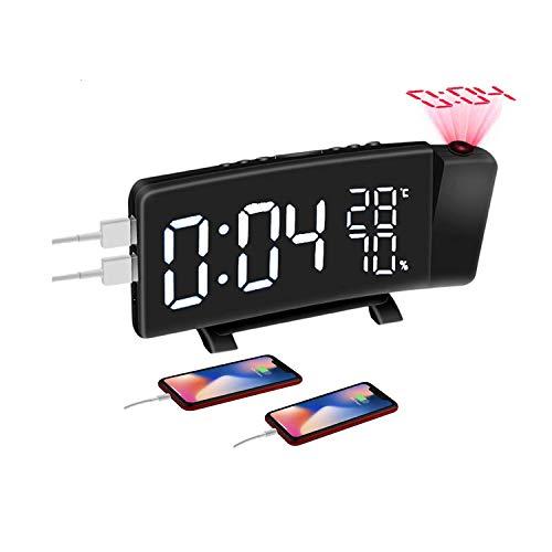 Sveglia Digitale, Radiosveglia con Proiettore, Sveglia da Proiettore Soffitto con FM Radio, Funzione Snooze, Sleep Timer, 2 Porte USB, 3 Livelli Luminosità Proiezione Regolabile 180°
