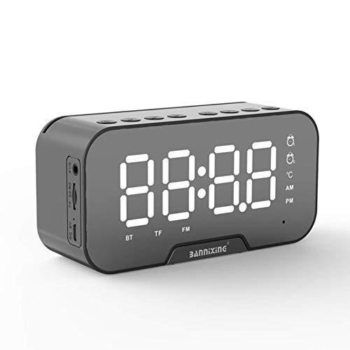 Sveglia Digitale,Radiosveglia,Sveglia Digitale da Comodino,Altoparlante Bluetooth,Doppia Sveglia Digitale con Display a LED Dimmerabile, Radio FM,5.0 Bluetooth, Scheda AUX TF