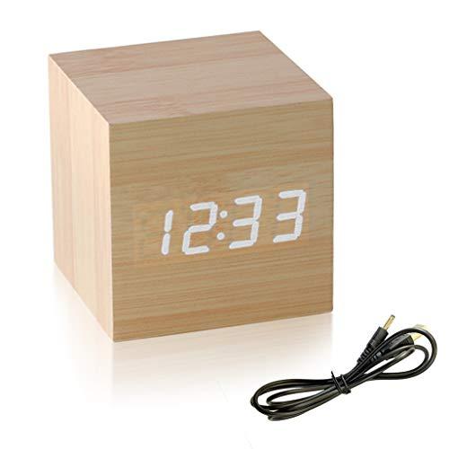Sveglia Elettronicheper Camera, Minimalista Allarme Digitale LED Indicatore del Tempo Venature del Legno dal Design Moderno Mini Secchio viene fornito con Cavo USB per Bambini, Dormienti, Giovani