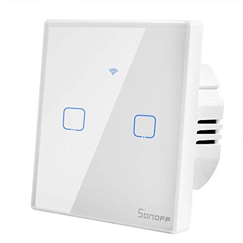 T1 Interruttore Luce de Parete Intelligente 2 Gang WIFI Switch Temporizzatore Supporto 433 RF e App Remoto Controllato per Amazon Alexa, Google Home, Google Nest e IFTTT