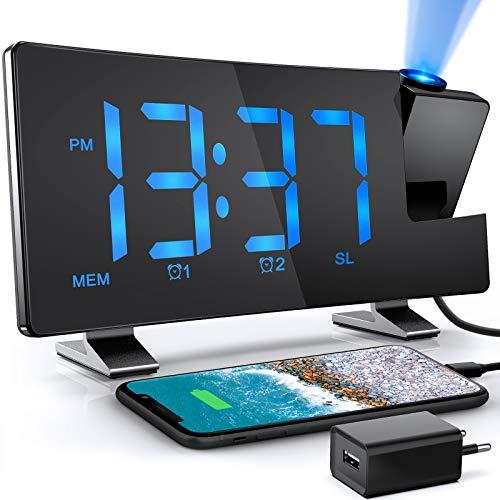 TAKRINK Orologio a Proiezione Orologio Digitale via Radio 12/24H Display LED a 180° Luminosità a Proiezione Rotante Regolabile con Sveglie FM Radio 2 e Cavo USB