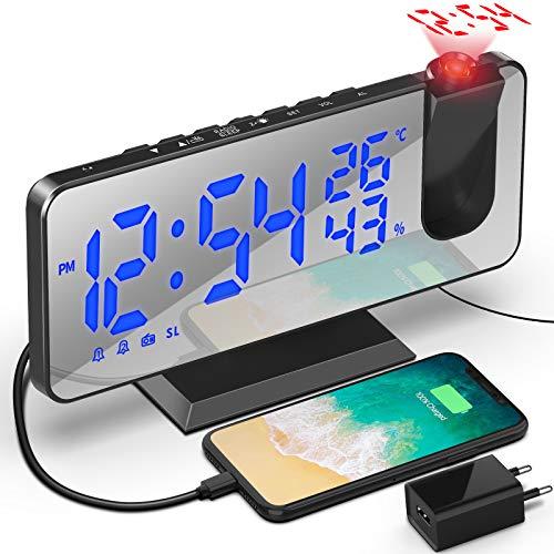 TAKRINK Sveglia con Proiettore 7,5 Pollici a 180° di Rotazione Sveglia Digitale Proiezione Funzione Radio FM Umidità Temperatura Interna con Porta di Ricarica USB 2 Sveglie 4 Livelli di Luminosità