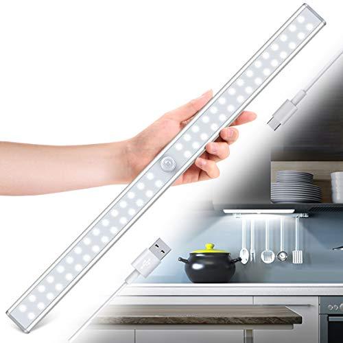 Tanbaby Luce per Armadio, Lampada Armadio 60 LED con Sensore Movimento, Batteria Ricaricabile, Luce LED con Striscia Magnetica Adesiva, per Armadio, Scale, Corridoi, Cucina, Garage (Bianca)